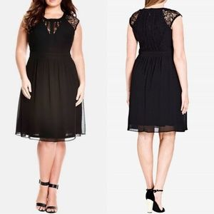 22 City Chic Black Dark Romance Fit & Flare Dress